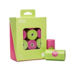 Modern Kanine - Box of 240 bags/8 rolls, Green & Pink