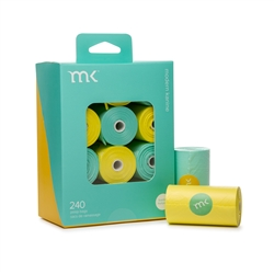 Modern Kanine - Box of 240 bags/8 rolls, Turquoise & Yellow