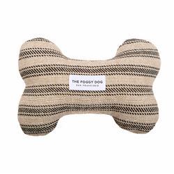 Ticking Stripe Black Dog Bone Squeaky Toy