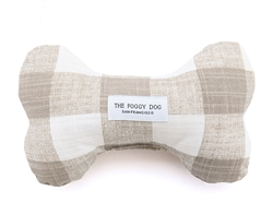Warm Stone Gingham Dog Bone Squeaky Toy