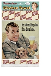 Drinking Alone with Dog Kitchen Towel