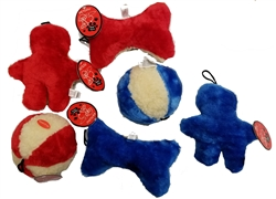 "Value Pet Toys!  Assorted Fleece 8"" Man, 8"" Bone, 5"" Ball - Plush Fleece"