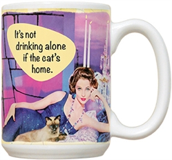 Drinking Alone with Cat 15oz Mug