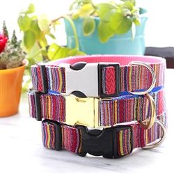 VIVA Dog Collar w Guatemalan Woven Fabric