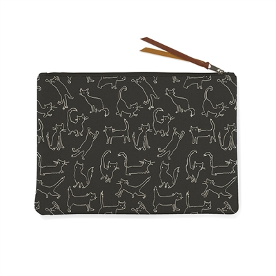 FUNNY CAT BLACK CANVAS POUCH