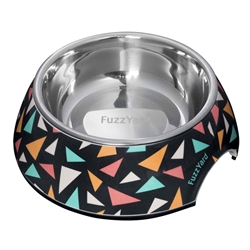 Rad (Charcoal with Pink, Orange and Green Triangles) Easy Feeder Bowl