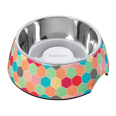 The Hive (Multicolored Hexagons) Easy Feeder Bowl