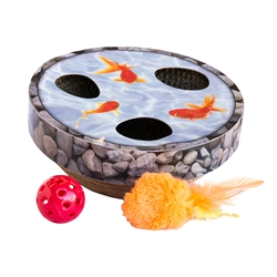 Hide & Seek Wobble Pond, Interactive Cat Scratch Toy