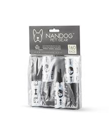 White / Black Dog & Cat Head / Black Solid 8 Roll Packs of Designer Fashion Waste Bag Refills