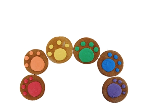 Rainbow Paws on Round Cookie