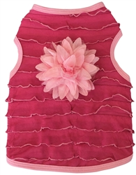 Ruffles with Flower- Tank - Hot Pink