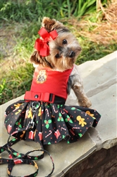 Gingerbread Christmas Dress and Leash