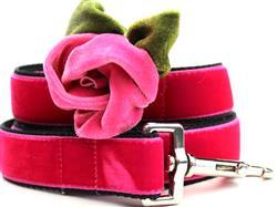 Rosie Pink Velvet Dog Leash