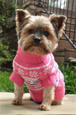 100% Pure Combed Cotton Dog Sweater PINK SNOWFLAKE and HEARTS