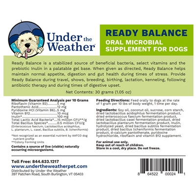 Ready Balance Probiotic Gel for Dogs, Display Case 12 Pack by Under the Weather