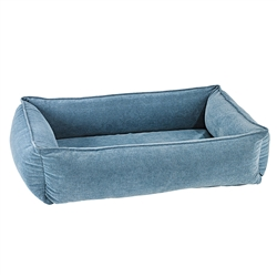 Bluestone Microvelvet Urban Lounger with Bluestone Piping