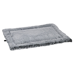 Royal Sterling Faux Fur Cosmopolitan Mat with Ebony One Side, Pinched Edge