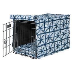 Shibori Microvelvet Crate Cover with Shibori Piping