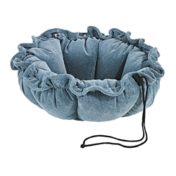 Bluestone Microvelvet Buttercup Bed with Bluestone Inner, Bluestone Trim