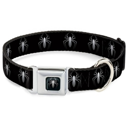 """""""New"""" Spider Logo Repeat Black/White Seatbelt Buckle Dog Collar and Lead by Buckle-Down"""