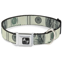 100 Dollar Bill CLOSE-UP Seatbelt Buckle Dog Collar and Lead by Buckle-Down