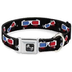 3-D Glasses Dripping w/Stars Seatbelt Buckle Dog Collar and Lead by Buckle-Down