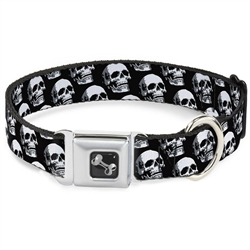 3-D Skulls Repeat Black/Grays/White Seatbelt Buckle Dog Collar and Lead by Buckle-Down