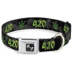 420/Pot Leaf Black/Smoke/Green Seatbelt Buckle Dog Collar and Lead by Buckle-Down