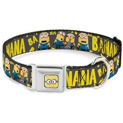 4-Minions BA BA BA/BANANA Gray/Yellow Seatbelt Buckle Dog Collar and Lead by Buckle-Down