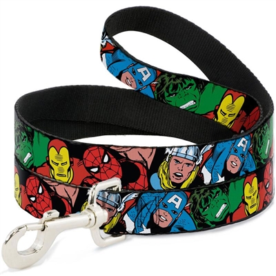 5-Marvel Characters Black Seatbelt Buckle Dog Collar and Lead by Buckle-Down