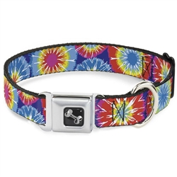 70's Tie Dye Seatbelt Buckle Dog Collar and Lead by Buckle-Down