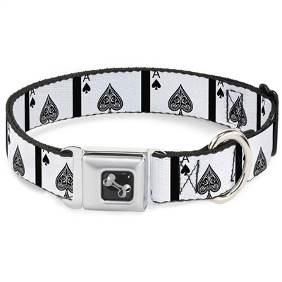 Ace of Spades Seatbelt Buckle Dog Collar and Lead by Buckle-Down
