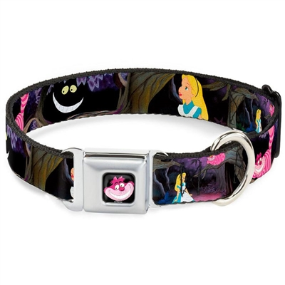 Alice & the Cheshire Cat Scenes Seatbelt Buckle Dog Collar and Lead by Buckle-Down