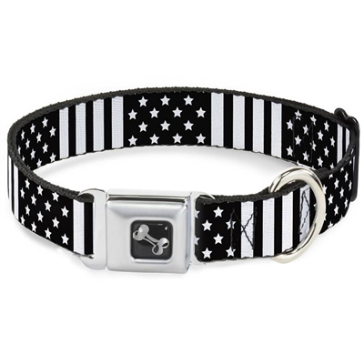 American Flag CLOSE-UP Black/White Seatbelt Buckle Dog Collar and Lead by Buckle-Down