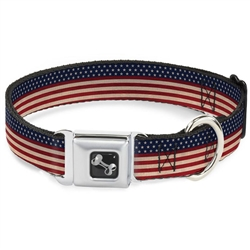 American Flag Stripe Seatbelt Buckle Dog Collar and Lead by Buckle-Down