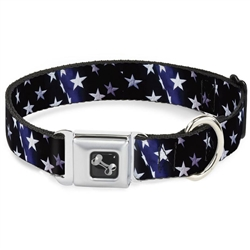 American Flag Vivid Stars Blue/White Seatbelt Buckle Dog Collar and Lead by Buckle-Down