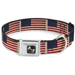 American Flag Weathered Color Repeat Seatbelt Buckle Dog Collar and Lead by Buckle-Down