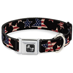 Americana Stars & Flags Black/Red/White/Blue Seatbelt Buckle Dog Collar and Lead by Buckle-Down