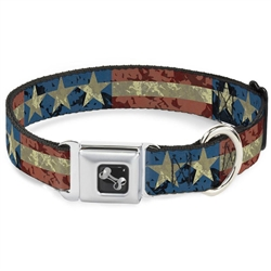 Americana Vintage Stars & Stripes Seatbelt Buckle Dog Collar and Lead by Buckle-Down
