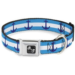 Anchor/Stripe Blues/White Seatbelt Buckle Dog Collar and Lead by Buckle-Down