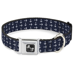 Anchors Navy/White Seatbelt Buckle Dog Collar and Lead by Buckle-Down