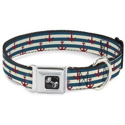 Anchors w/Stripes White/Blue/Red Seatbelt Buckle Dog Collar and Lead by Buckle-Down