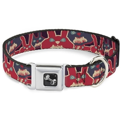 Angry Bunnies Purple/Red/Blue Seatbelt Buckle Dog Collar and Lead by Buckle-Down