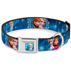 Anna & Elsa Poses/Castle & Mountains Blues Seatbelt Buckle Dog Collar and Lead by Buckle-Down