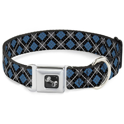 Argyle Black/Gray/Turquoise Seatbelt Buckle Dog Collar and Lead by Buckle-Down