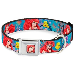 Ariel & Flounder Vivid Underwater Poses Seatbelt Buckle Dog Collar and Lead by Buckle-Down