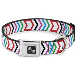 Arrows White/Multi Color Seatbelt Buckle Dog Collar and Lead by Buckle-Down