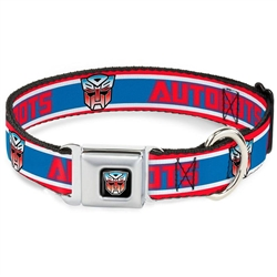 AUTOBOTS/Logo Stripe Red/White/Blue Seatbelt Buckle Dog Collar and Lead by Buckle-Down