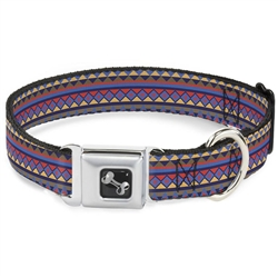 Aztec 15 Blues/Yellow/Orange/Gray Seatbelt Buckle Dog Collar and Lead by Buckle-Down
