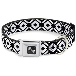Aztec 2 White/Black Seatbelt Buckle Dog Collar and Lead by Buckle-Down